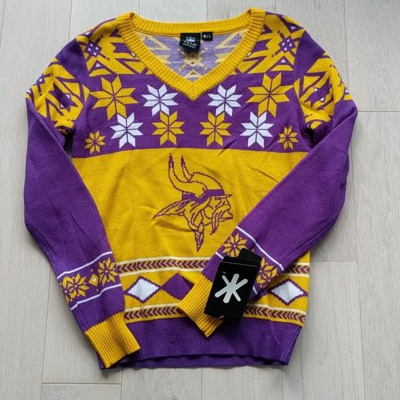 sports shoes 1bccb 32cfd NFL Minnesota Vikings ugly Christmas sweater, sz S NWT
